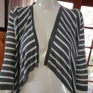 DKNY Open Cardigan/High-Low - Gray/White